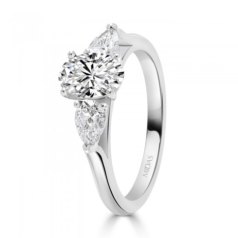 Elegant Oval and Pear Trilogy Engagement Ring