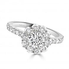 Diamond Halo Flower Engagement Ring