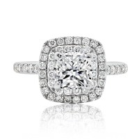 Brilliant Double Halo Cushion Cut with Claw Setting