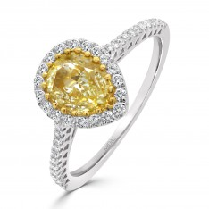 Fancy Pear Yellow Diamond with Halo
