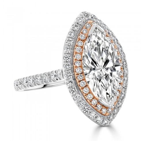 Marquise Diamond with Brilliant Halo