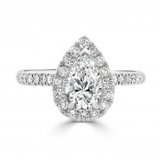 Pear Halo Engagement Ring with Claw Setting