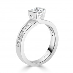 Floating Princess Cut Diamond Engagement Ring