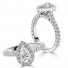 Brilliant Pear Halo Engagement Ring