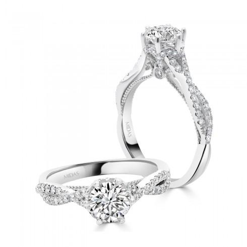 Split Band Solitaire Diamond with Milgrain Detail