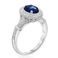 Vintage Milgrain Oval Sapphire Engagement Ring