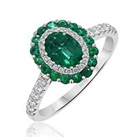 Oval Emerald with Diamond and Emerald Halo