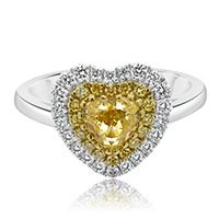 Yellow Diamond Heart with Halo