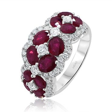 Ruby and Diamond Flower Dress Ring
