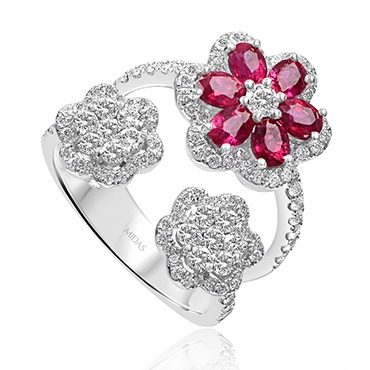 Ruby Flower and Diamond Dress Ring