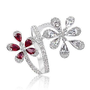 Dainty Ruby and Diamond Flower Dress Ring