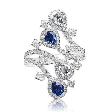 Intricate Sapphire and Diamond Dress Ring