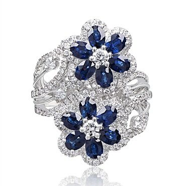 Blue Sapphire and Diamond Floral Ring