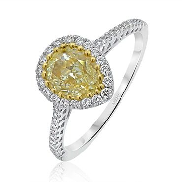 Fancy Pear Yellow Diamond with Halo