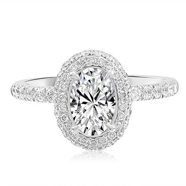 Oval Pavé Halo with Diamond Shoulders