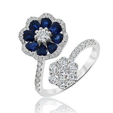 Sapphire and Diamond Floral Twist Dress Ring
