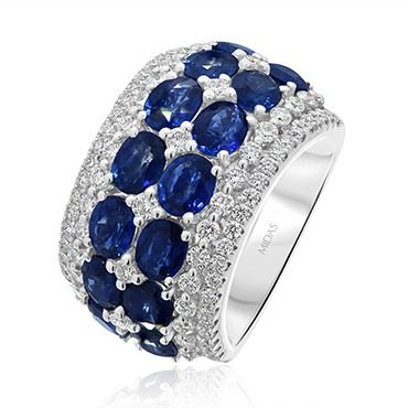 Brilliant Royal Sapphire and Diamond Band