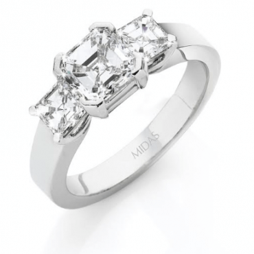 Asscher Cut White Gold Trilogy Ring