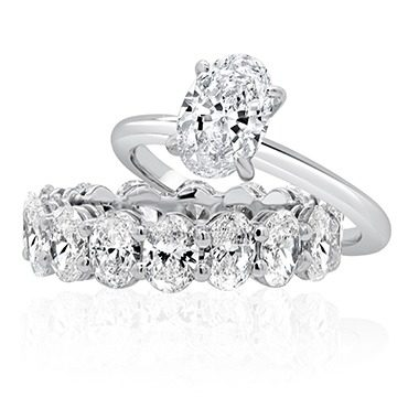 Oval Engagement with Matching Oval Cut Diamond Band