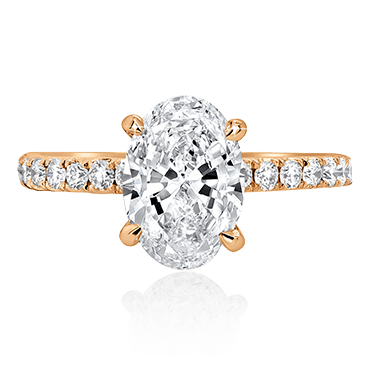 Oval Solitaire Brilliant Band Engagement Ring
