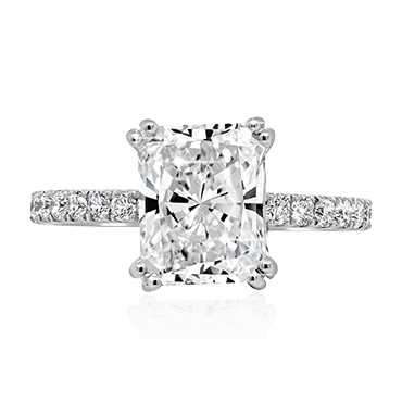 Radiant Cut with Diamond Band Engagement Ring