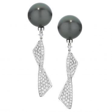 Black Pearl and Diamond Pavé Drop Earrings