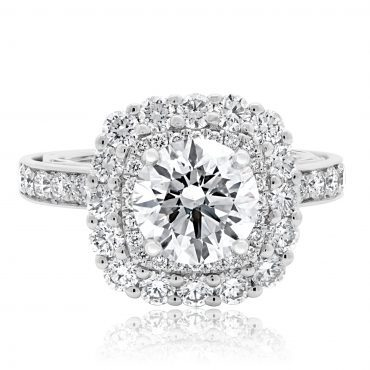 Brilliant Double Cushion Halo Engagement Ring