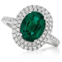 Oval Green Emerald with Double Diamond halo