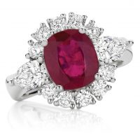 Radiant ruby and diamond ring