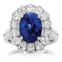 Sapphire and Diamond Flower Halo