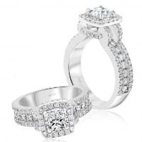 Cushion Cut Halo with Trio Band