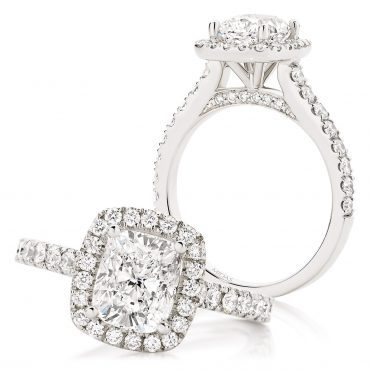 Cushion Cut with seamless claw set halo and Pavé gallery