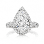 Delicate Pear with Round Halo and Cathedral Band