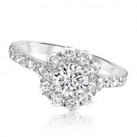 Diamond Halo Flower Engagement Ring