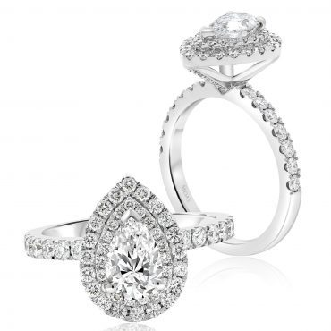 Double Halo Pear Engagement Ring
