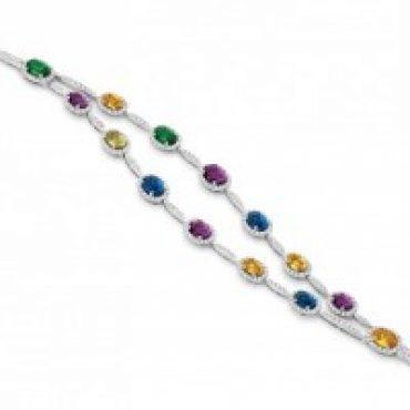 Double Strand Rainbow Coloured Stone Bracelet