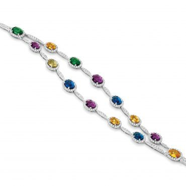 Double Strand Rainbow Coloured Stone Bracelet