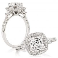 Asscher Cut Trilogy with Pavé Halo