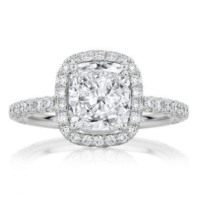 Cushion Halo Pavé Engagement Ring