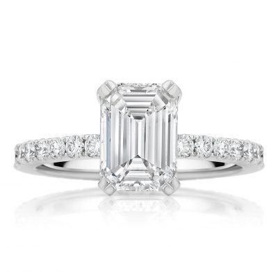 Emerald Cut Pavé Engagement Ring