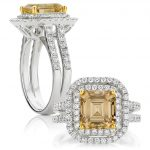 Asscher Cut Fancy Yellow Diamond Double Halo