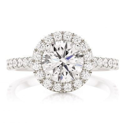 Micropave Halo Diamond Engagement Ring