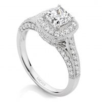 Princess Cut Pavé Halo Engagement Ring