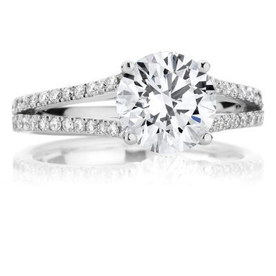 Round Cut Split Pavé Engagement Ring
