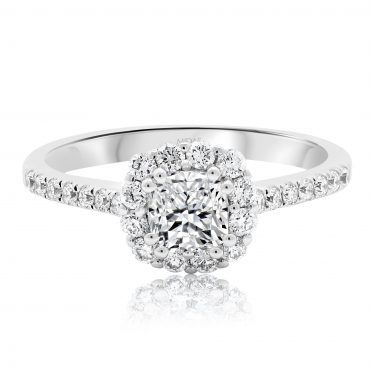Elegant Cushion Cut Halo with Round Brilliant Band
