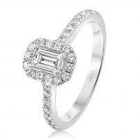 Elegant Emerald Cut with Round Brilliant Halo