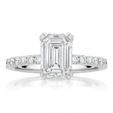 Emerald Cut Solitaire with Claw Shoulders
