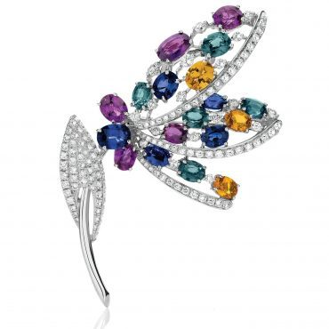 Exquisite Diamond and Colour Gem Stone Brooch