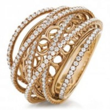 Exquisite Rose Gold and Diamond Lace Ring