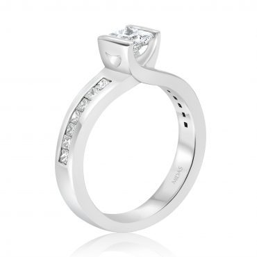 Floating Princess Cut Diamond Engagement Ring